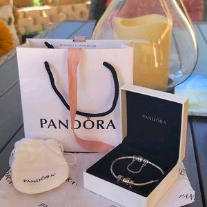 "Pandora Sterling Silver Bracelet with Charms Sz.8"""